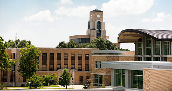 The Dean B. Ellis clock tower behind the Reng Student Union