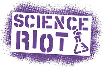 purple logo with Science Riot text and beaker