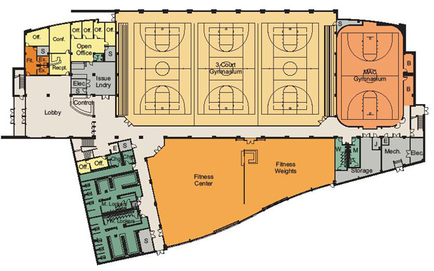 Facilities equipment for Basketball gym floor plan