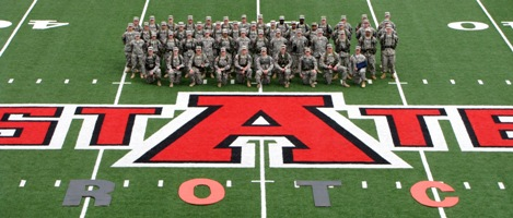 ROTC on football field