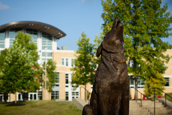 The red wolf statue in front of the student union.