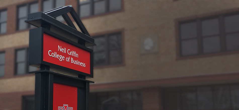 The newly updated Neil Griffin College of Business sign