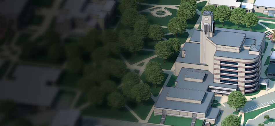 A digital rendering of the Dean B Ellis Library