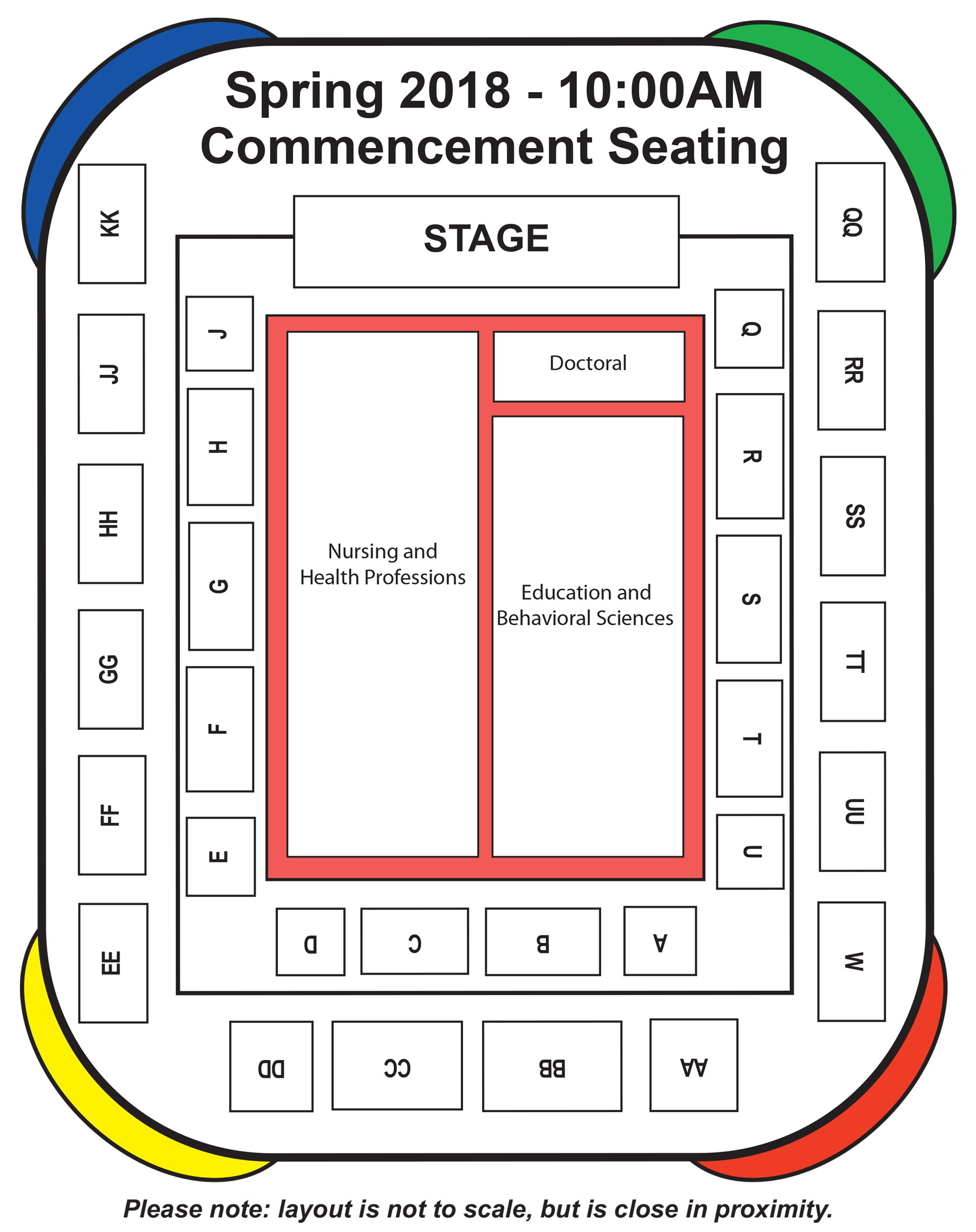 The morning commencement seating map