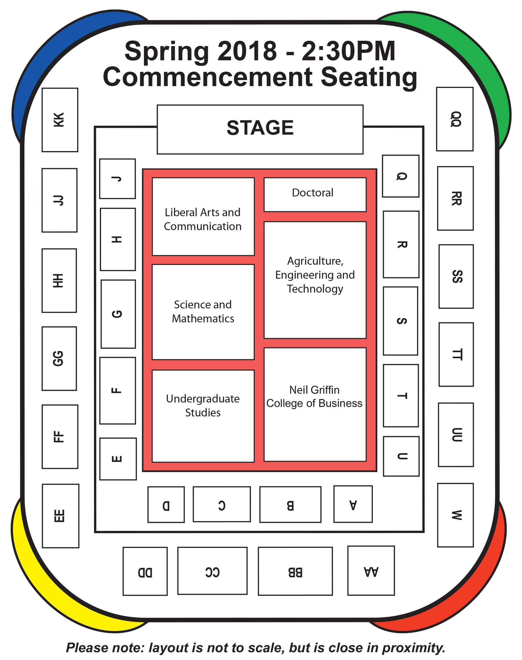 The afternoon commencement seating map