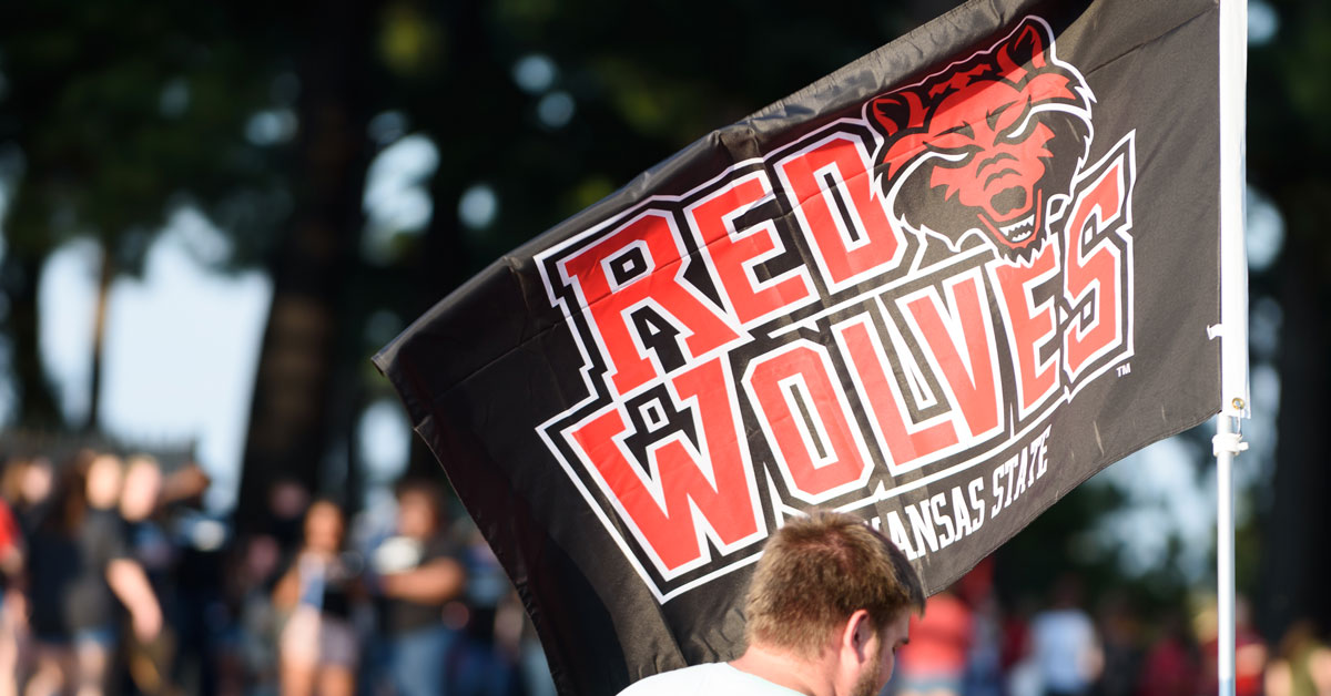 A Red Wolves flag flying at the 2017 Order of the Pack