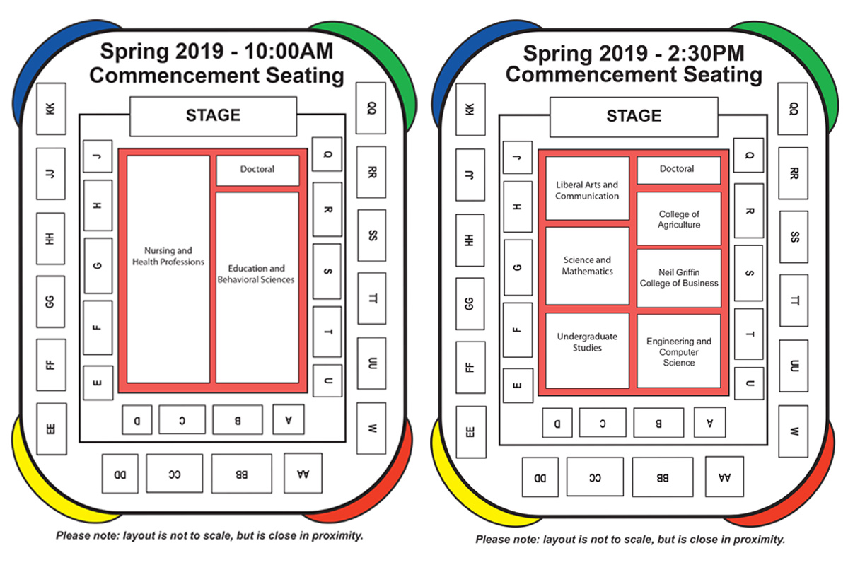 The 2019 Commencement Seating Chart.  Check with an attendant at the arena for more information.
