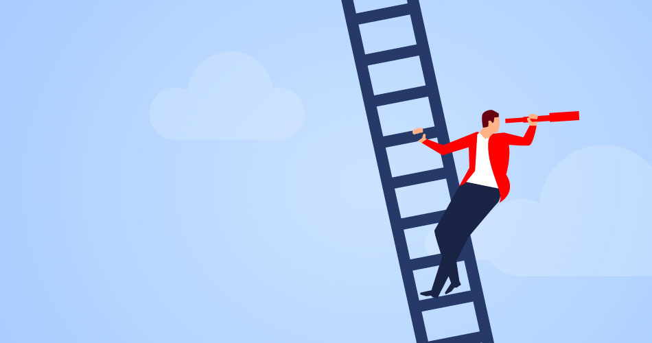 An illustration of a character climbing a ladder with an eyeglass