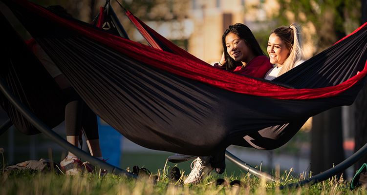 Two students studying in hammocks on campus