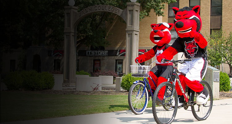 Howl and Scarlet ride bikes on campus