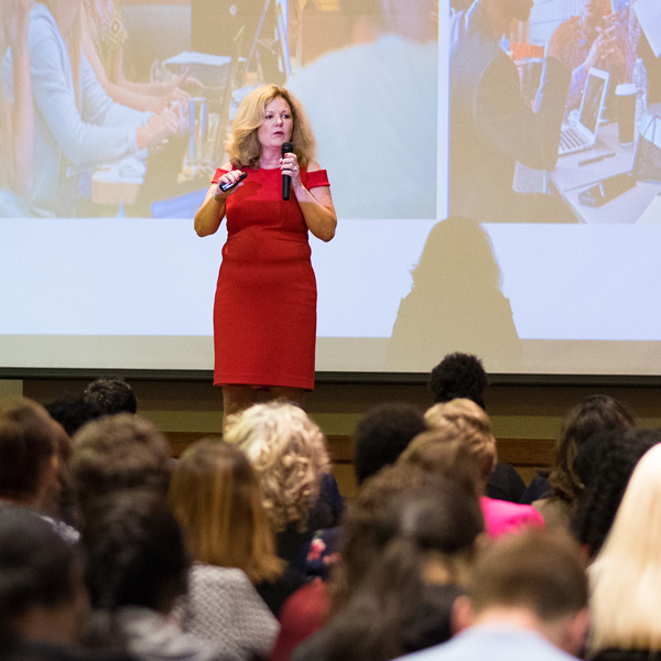 A presenter at the Women's Leadership Conference