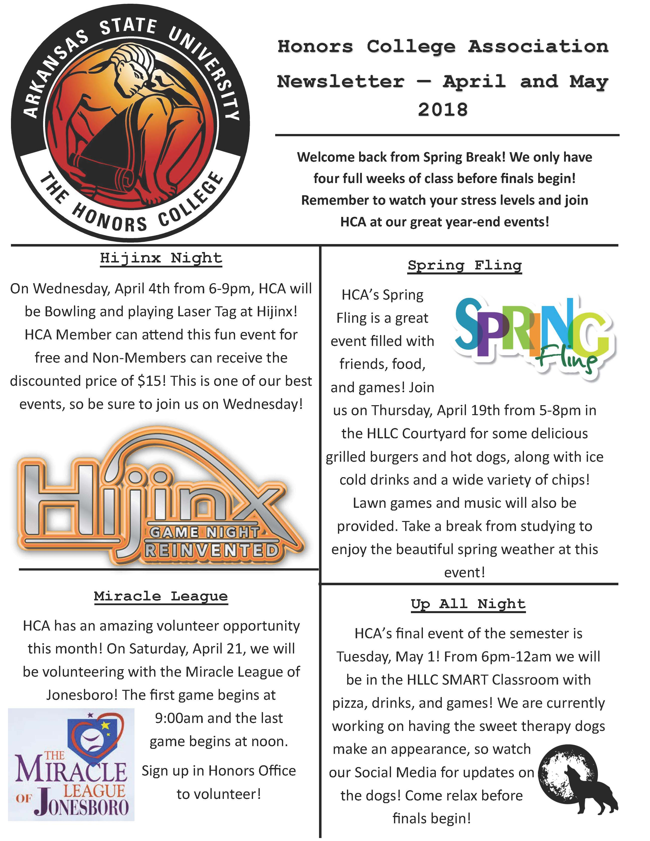 April and May Newsletter