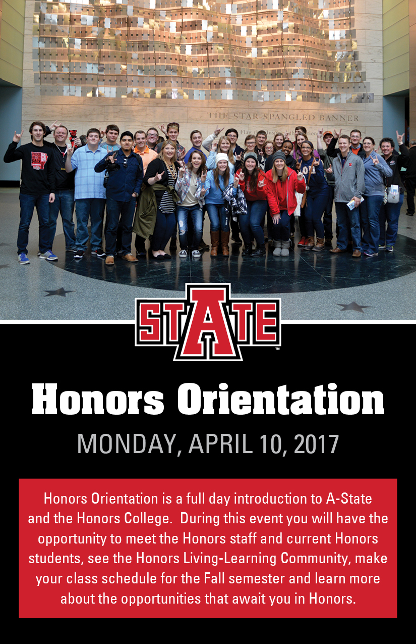 Honors Orientation postcard 2017