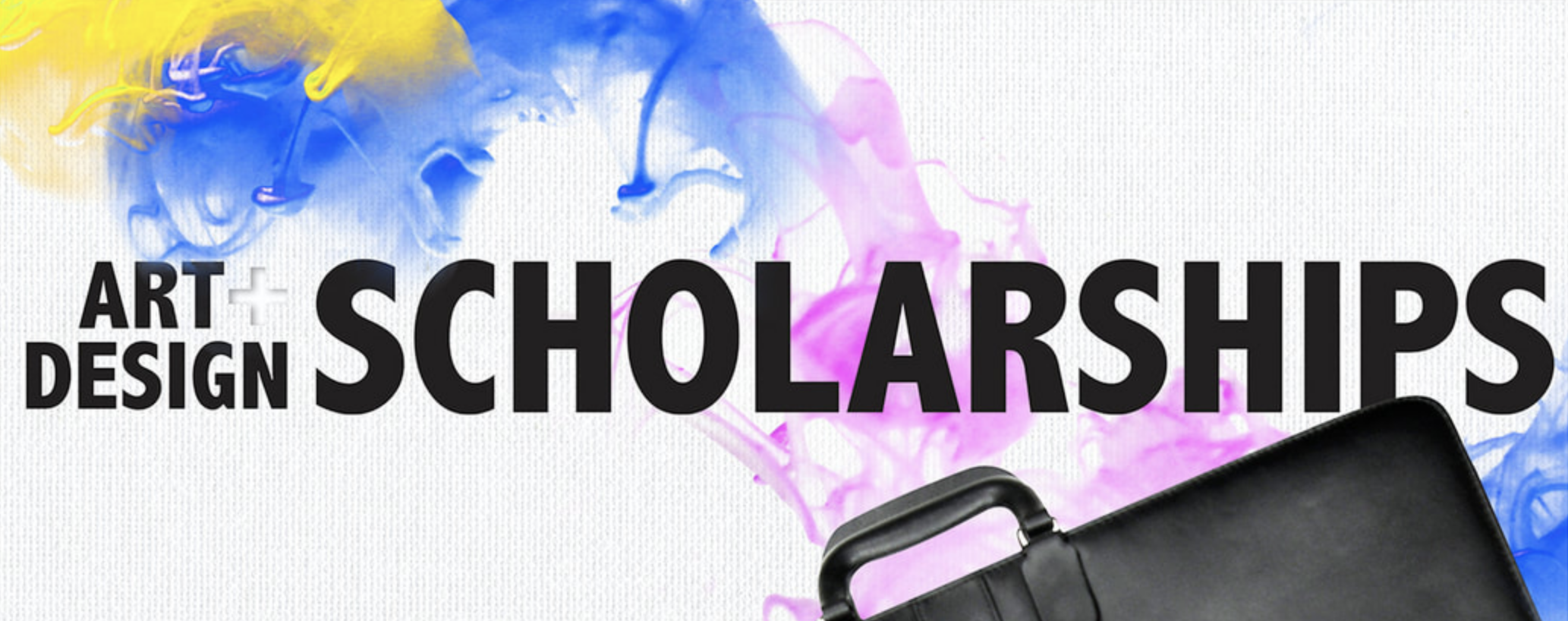 A banner displaying a graphic for art and design scholarships.