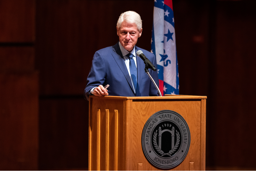 Former President Clinton Speaks to Packed Riceland Hall