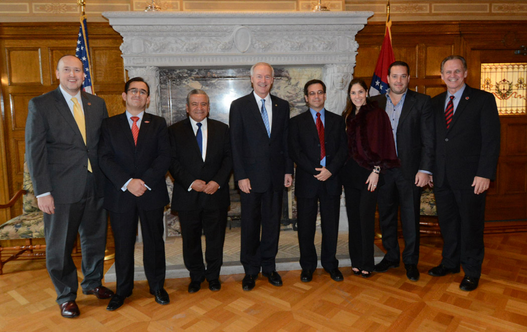 Pictured in the Governor's Conference room at the Arkansas State Capitol in Little Rock are (from left) Chuck Welch, President of the Arkansas State University System; Edmundo Ortiz, general director of ASUCQ; Alfredo Botello, Secretary of Education for the State of Queretaro; Arkansas Gov. Asa Hutchinson; Eduardo Presa, Director of Government Innovation and Global Affairs for Queretaro; Belinda Salazar, executive for Servicios Independientes de Consultoria; Ricardo Gonzalez, Chairman of ASUCQ and CEO of Servicios Independientes de Consultoria; and Tim Hudson, Chancellor of Arkansas State University.