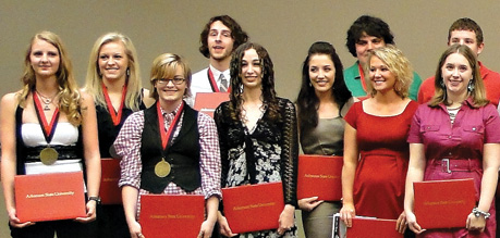 Honors Students at an Award Ceremony