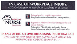 Workers' Comp Card Sheet Front