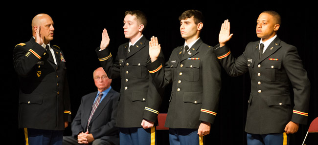 Dept. of Military Science Commissions Three 2nd Lieutenants