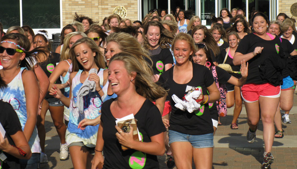 Girls Running on Bid Day