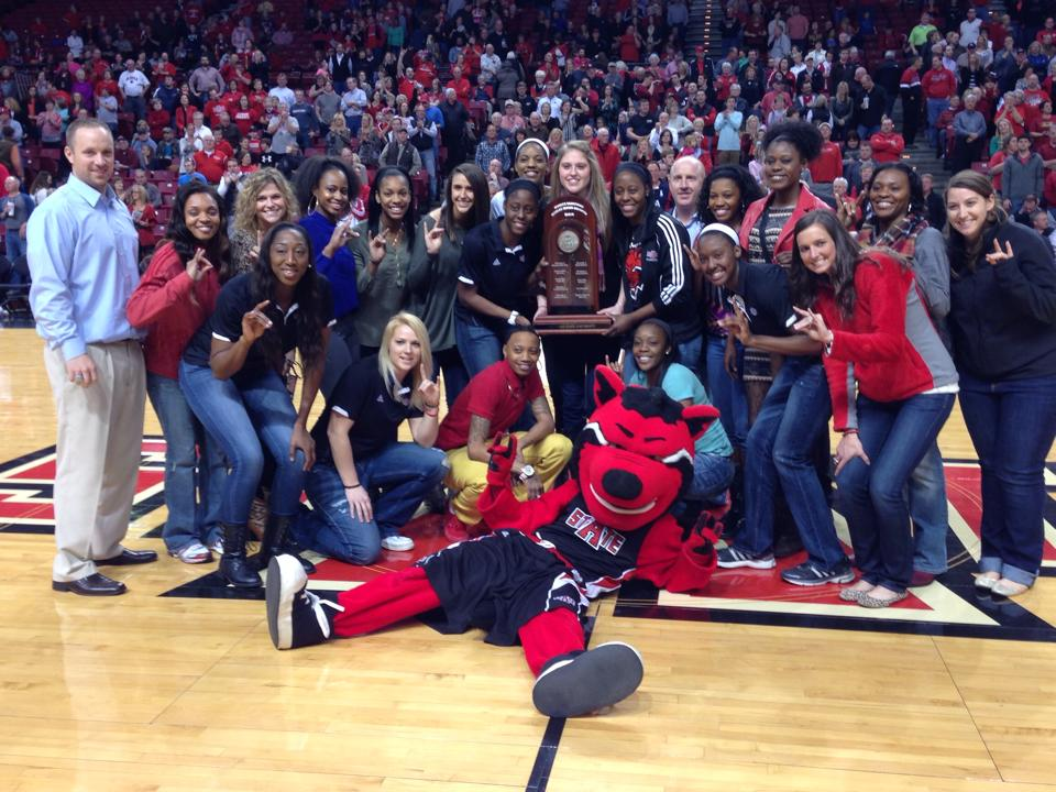 The A-State women's basketball team poses after beating ULL.