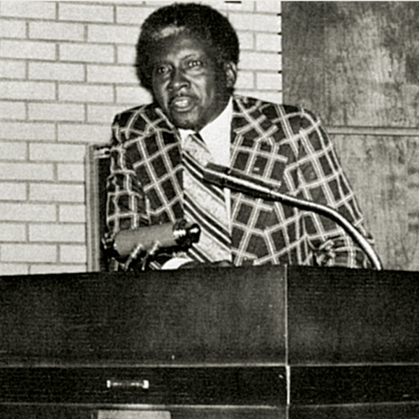 Walter Strong speaks to students during Black History Week in 1974