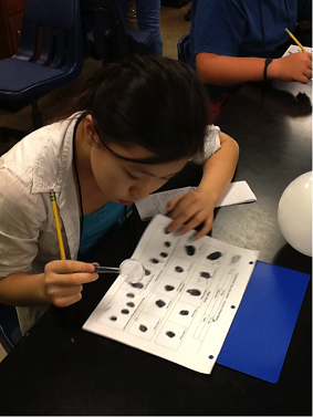 Student examines fingerprints