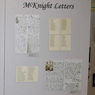 exhibit wall with letters in the Military Gallery