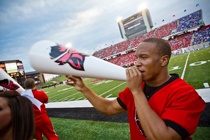Student with megaphone
