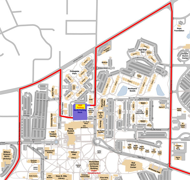 A map of New Student Orientation Parking