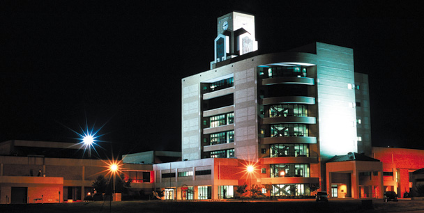 Rear View of the Dean B Ellis Library at night