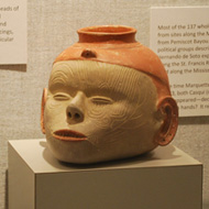 decorative pottery shaped like a human head in the Native American Gallery