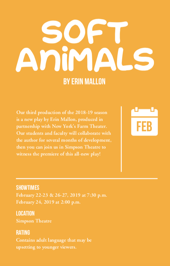 Theatre Announces Cast and Crew for 'Soft Animals'