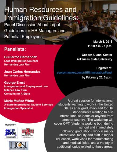 Workshop on Hiring Internationals and Immigration, March 8