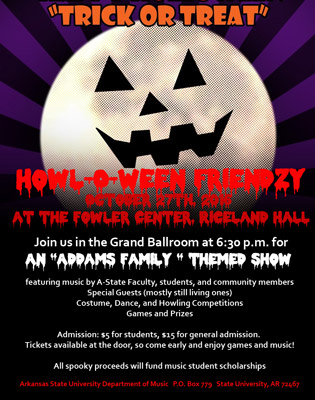 Friends of Music to Sponsor 'Howl-O-Ween Friendzy' Benefit